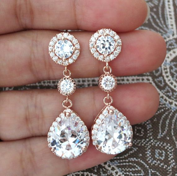 Rose Gold Teardrop Luxe Cubic Zirconia Teardrop Earring - gifts for her, earrings, bridal gifts, drop, dangle, pink gold weddings