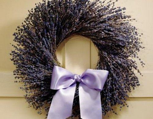 Ideen Hausdekoration Lavendel Kranz Lila Tür