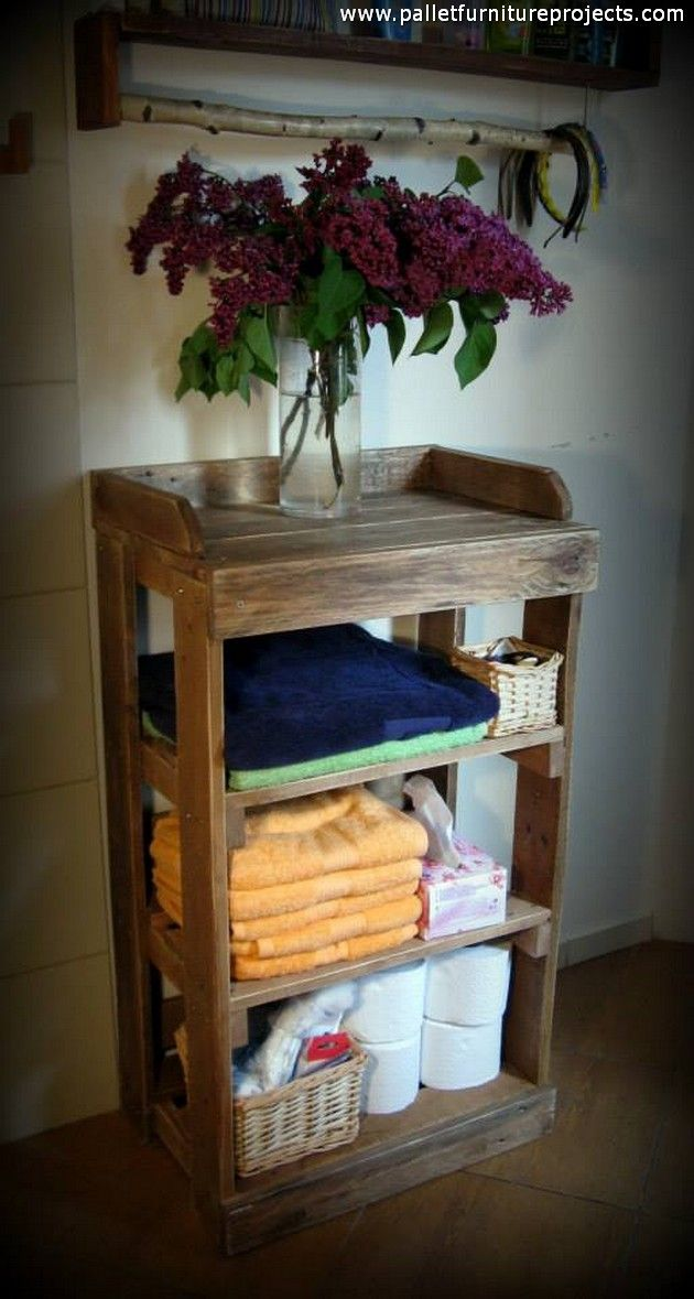 Awesome Websites Here es a sleek a stylish wood pallet repurposed side table it has got multiple tiers that have multiplied the usefulness of the wooden pallet side