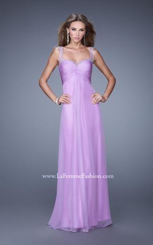 20678--La Femme Ice Purple sz 0--org. price $378 sale. Open Back GownChiffon  ...
