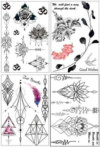 Sweet Whispers Black Henna Unalome Lotus Leaf Temporary Tattoo Set at MyBodiArt.com #tattooremovalfacts