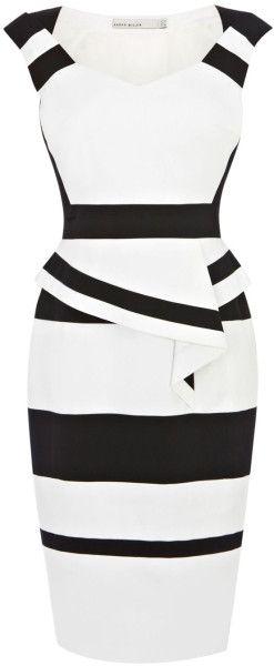 Karen Millen Colourblock Cotton Peplum Dress in White (black & white) | Lyst