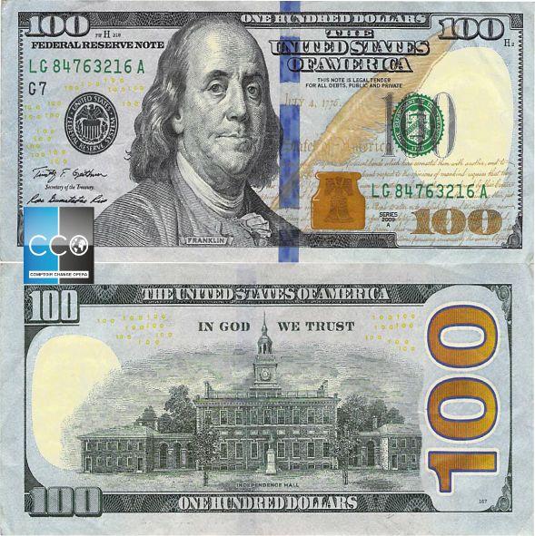 Portrait de : Benjamin Franklin.  Ce billet de 100 dollars a été conçu avec deux éléments supplémentaires : un ruban de sécurité en 3D tissé dans le papier et la « Cloche dans l'encrier » qui passe du cuivré au vert si on l'incline