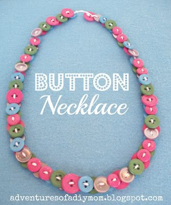 Adventures of a DIY Mom: Button Necklaces  I believe the buttons here are felt. Many ideas spring to mind..click on pic and more ideas are there awaiting your creative spark!