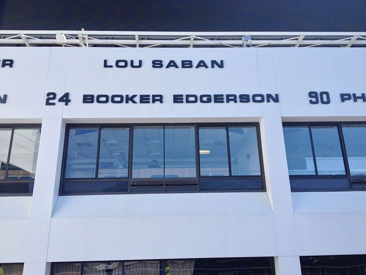 New sign installation honoring Lou Saban being named to Buffalo Bills Wall of Fame.