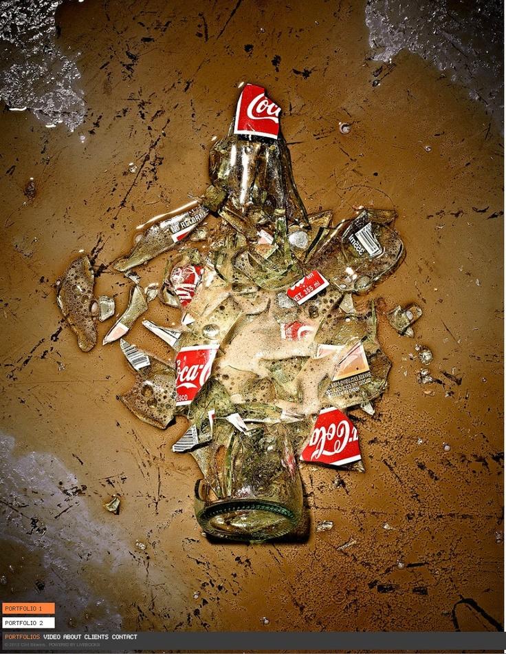 Smashed Coke bottle. Photo: Clint Blowers.