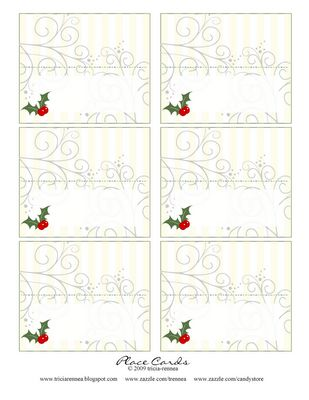 """Treat Cards or Place Cards  Gift Idea: Simply print, fold and customize with a pen to use as flavor identification cards by placing on your platters of cupcakes, cookies and treats (Ex: """"Sugar Cookies"""", """"Peppermint Cupcakes"""", """"Candied Almonds""""). You can also use them as a cute place card on dinner plate with a name or greeting written on it."""