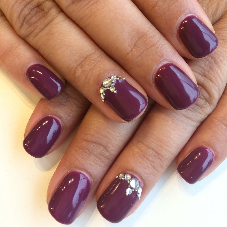 Bio Sculpture Gel #86 - Dark Plum with a feature nail design using a combination of rhinestones and caviar.