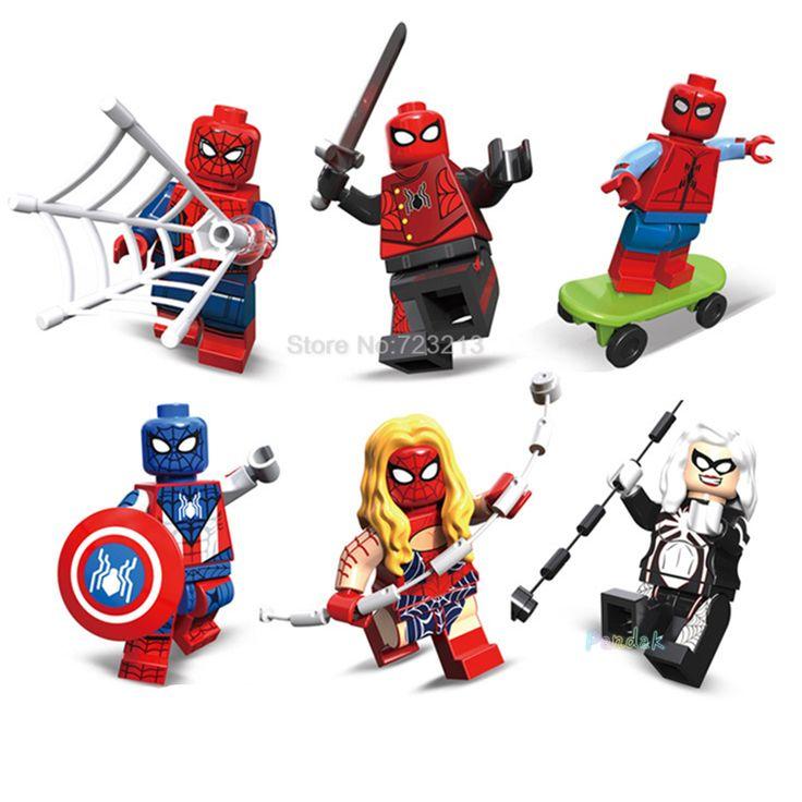 6pcs/lot Captain Spider Man Figure Boy Spider-Woman Julia Carpente Jessica Drew Building Blocks Sets Model Bricks Toys #Affiliate