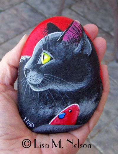 Black Cat with Toy Mouse on River Rock Stone by BucksCountyDesigns, $35.00
