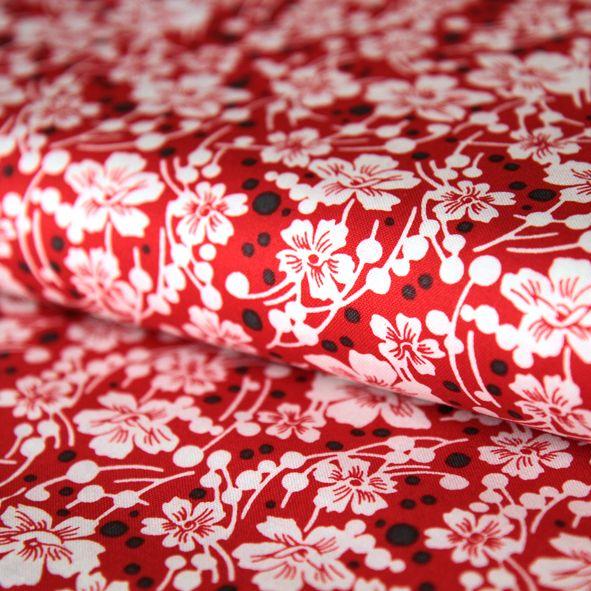 Bavlněná látka Bílé kytičky na červené Mimosa