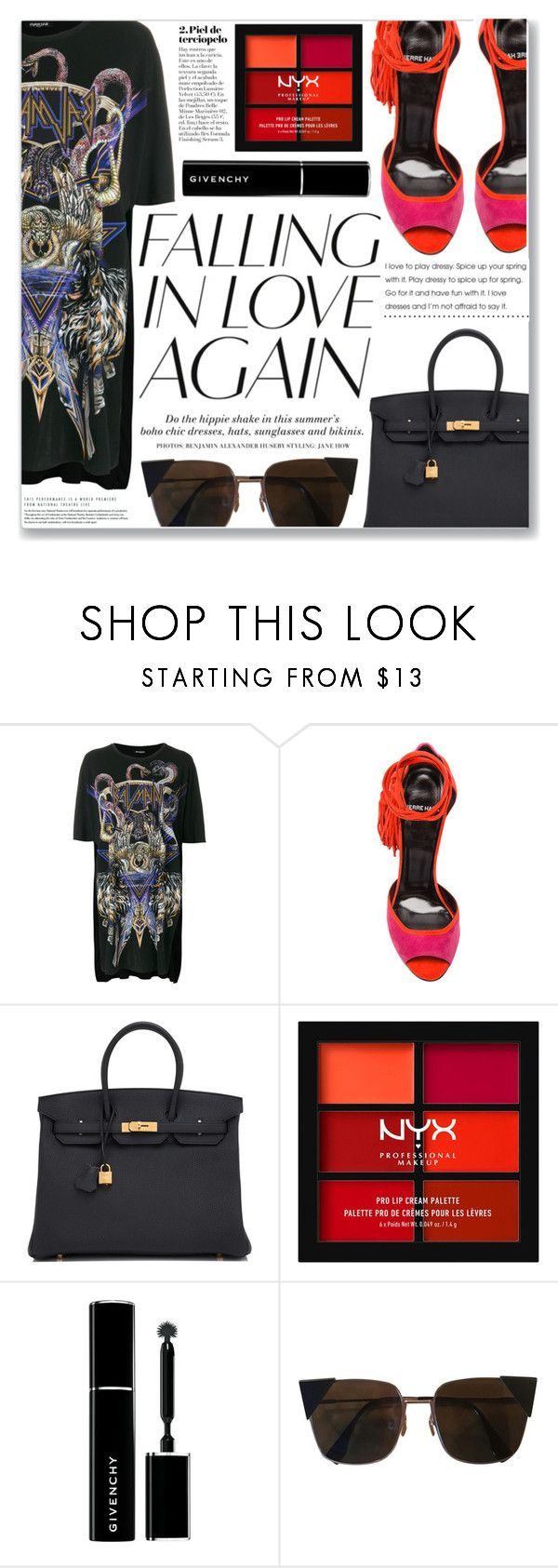 """""""FALLIN IN LOVE"""" by brenndha ❤ liked on Polyvore featuring Balmain, Pierre Hardy, Hermès, H&M, NYX, Givenchy and Fendi"""