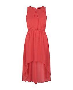Robe pour ado en mousseline rose avec ourlet asymétrique   New Look
