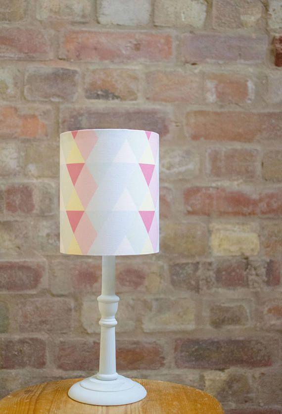 Pastel lamp shade, Pastel nursery decor, Pastel home decor, Pink lampshade, Blue lamp shade, Light shade, Geometric lampshade, Table lamp
