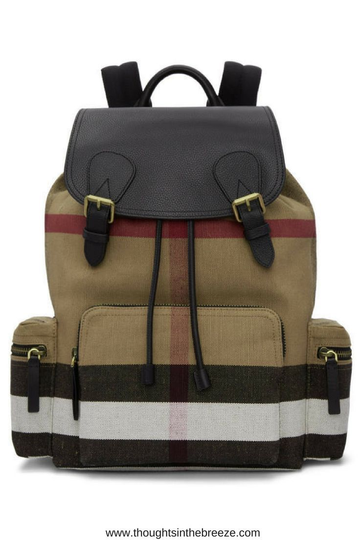 1150 Burberry Tan Large Rucksack Jute and cotton twill backpack featuring  signature heritage check pattern in 9d3ec739547e1