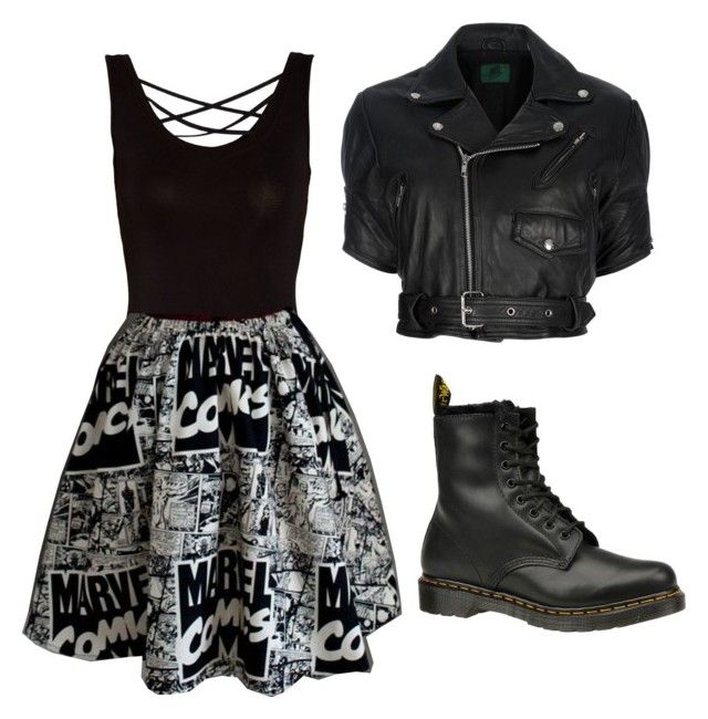 """""""Untitled #514"""" by girl-in-love-m ❤ liked on Polyvore featuring Morgan, Marvel Comics, Jean-Paul Gaultier and Dr. Martens"""