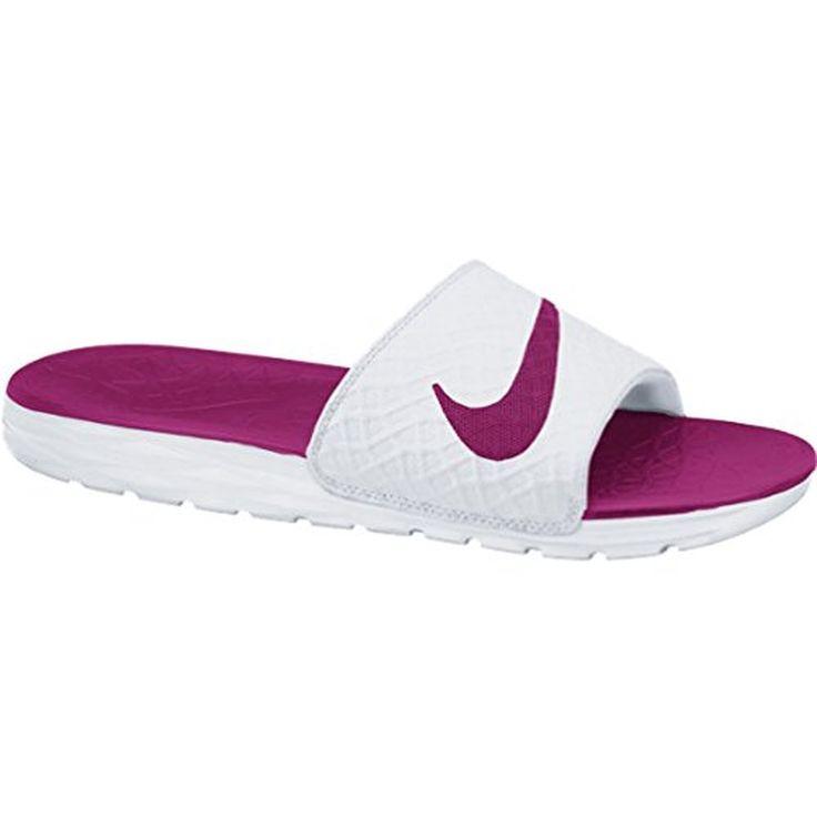 slippers: Nike Women's Benassi Solarsoft Slide 2 (7, WHITE/FIREBERRY)  