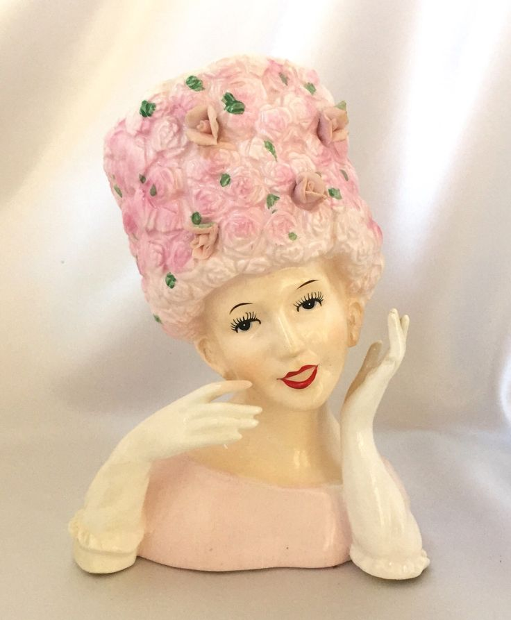 Vintage Relpo Japan ceramic lady head vase pink rose hat by TheCatzPajamas on Etsy https://www.etsy.com/listing/484707331/vintage-relpo-japan-ceramic-lady-head