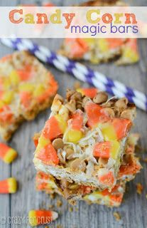 More than 40 Candy Corn Recipes! Recipes that use candy corn, taste like candy corn, or look like candy corn all in one place!   Candy Corn Rice Krispie Treats Candy Corn Pudding Pops Candy Corn Pops Candy Corn Oreo Truffles Candy Corn Cake Candy Corn Peanut Mallow Bars Candy Corn Cookie Bites …