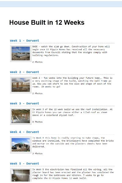 Click on this link to view the journey of building a house with OJ Pippin homes in only 12 Weeks  http://blog.ojpippin.com.au/house-built-in-12-weeks/ — at OJ Pippin Homes.