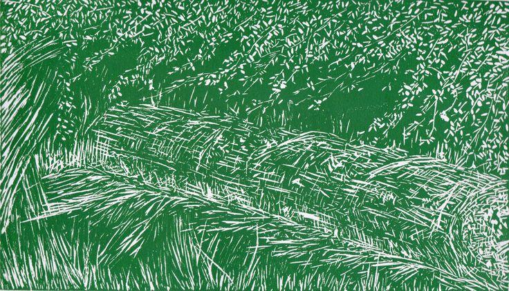 Árbol caído por Gerardo Arango B. Linóleo sobre papel