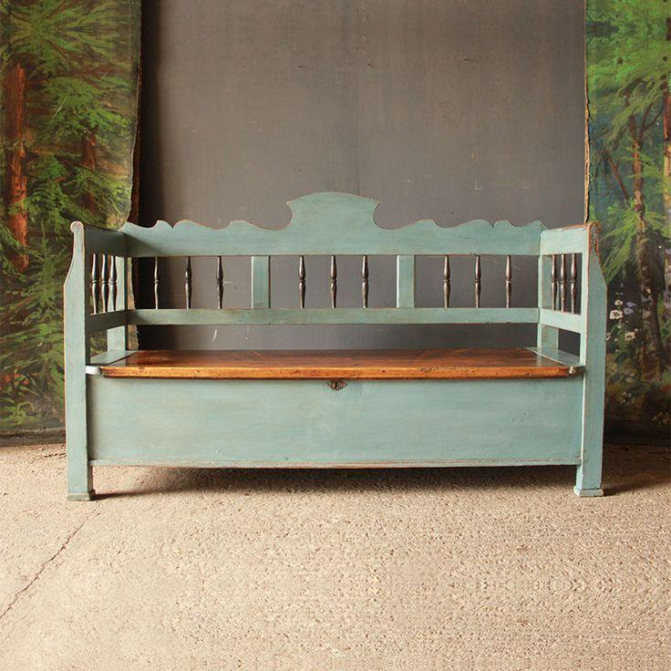 Smart Antique Pine Box Settle In Swedish Blue Swedishinterior Scandinavianhome Swedishbench Antique Pine Furniture Bench Decor Antique Bench