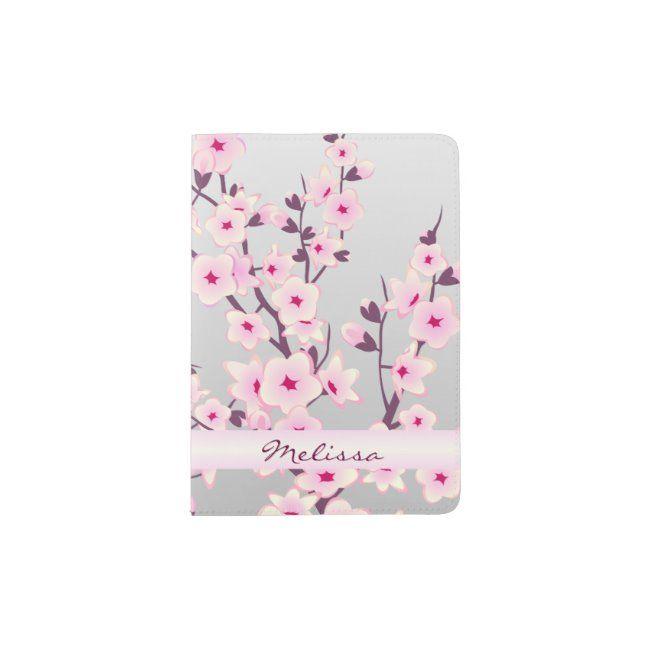 Floral Cherry Blossoms Monogram Passport Holder Zazzle Com Monogrammed Passport Holder Cherry Blossom Flower Gift
