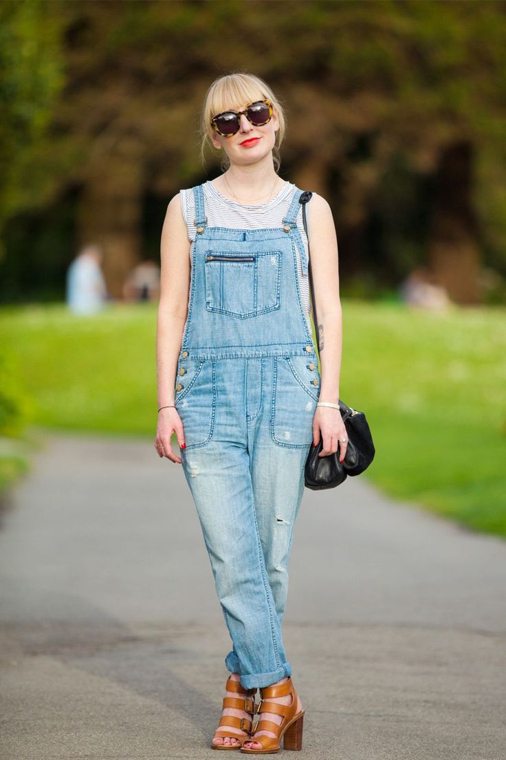 14 Inspiring Spring Looks From The Streets Of San Francisco  #refinery29 //  We never tire of a solid overalls-and-tee mashup. Ashley Stephens takes it to the next level in Karen Walker sunglasses, a Clare Vivier bag, and Madewell dungarees and shoes.