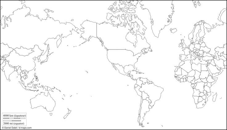 World America centered: free map, free blank map, free