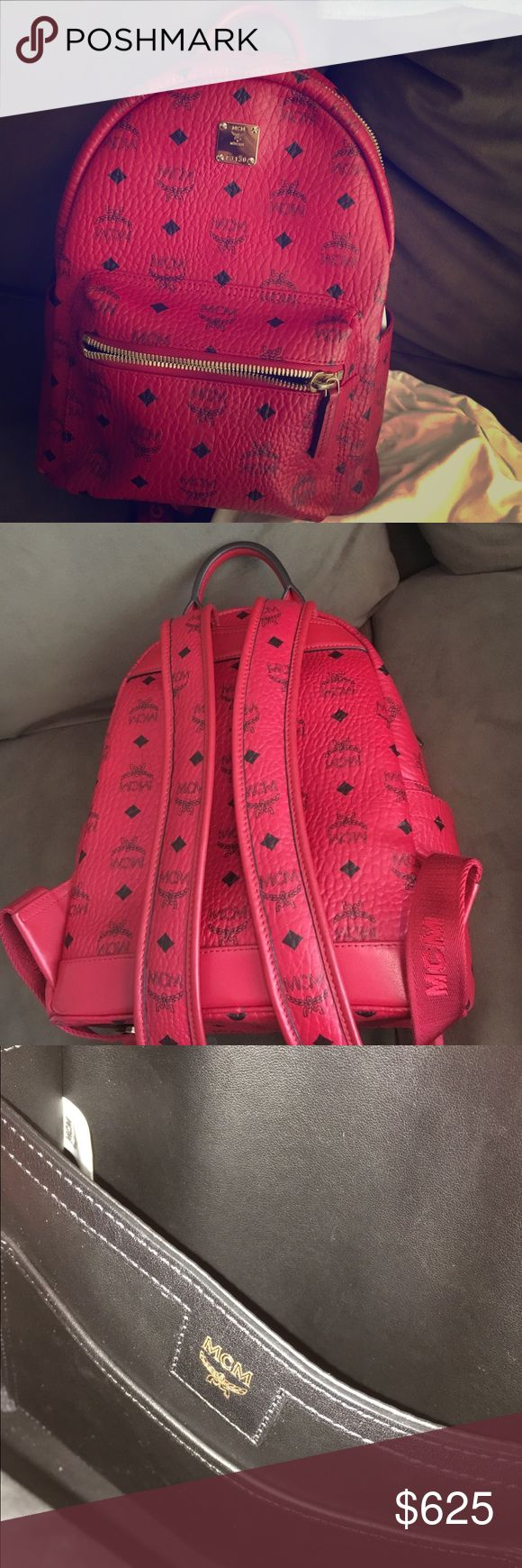 Authentic mcm backpack ruby red Authentic mcm bag ruby red (all prints line up and serial tag is shown in photo) Best deal you can get on here! If you need help to see this is authentic just ask. Retail was 750 and they are all sold out so price firm Great condition barley used  Price negotiable if made by different payment MCM Bags Backpacks