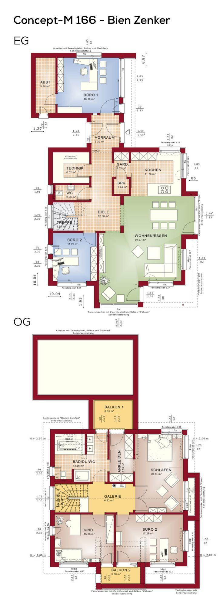 Grundriss Designhaus modern mit Satteldach Architektur & Büroerweiterung – 5 Zimmer …   – Anbau Dach