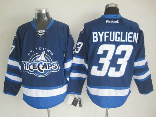 Jets #33 Dustin Byfuglien Dark Blue St. John's IceCaps Embroidered NHL Jersey @Emillia Kelly