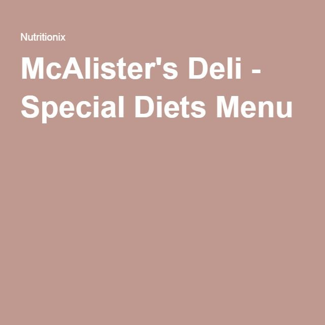 McAlister's Deli - Special Diets Menu