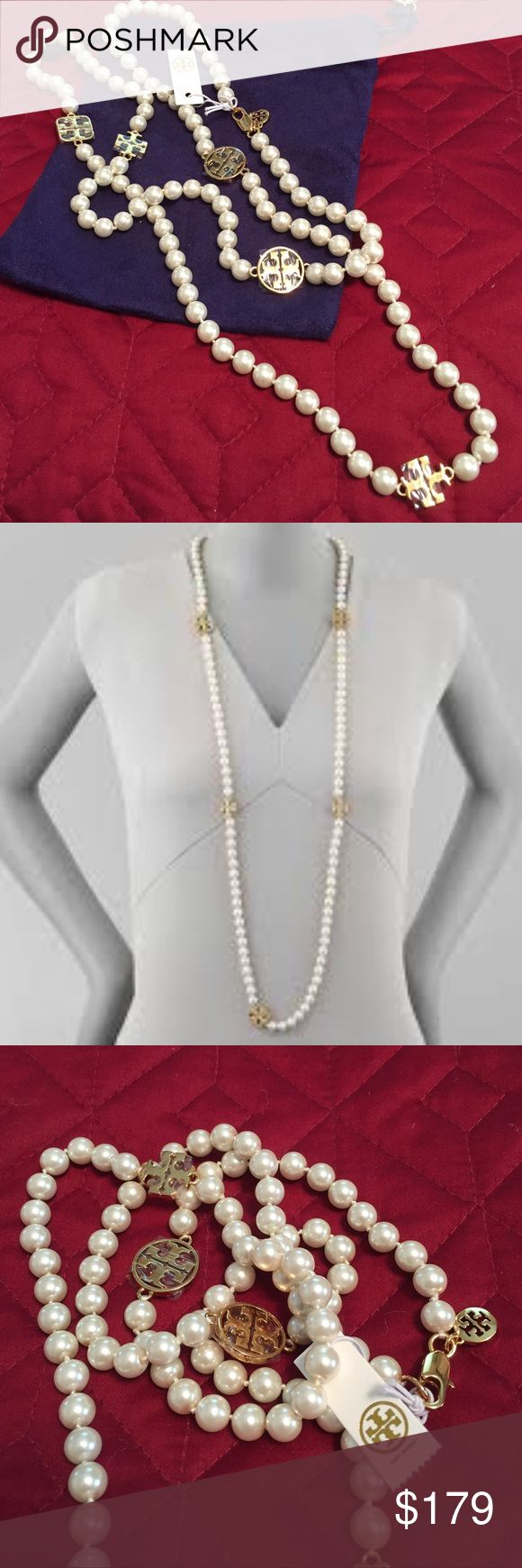 🆕Tory Burch Evie Pearl & Gold Signature necklace New with tag, never used... This classic Pearl and Gold long necklace will dress up any outfit. Beautifully crafted Ivory glass pearls can be worn as one long necklace or wrapped around twice for a double necklace. The gold plated Double-T shaped logo charms are the perfect size with a lobster claw closure. Comes in a Tory Burch box and blue velvet Tory Burch pouch. Approximate Measurements: 42 inches entire length. Sold online at Nordstrom…