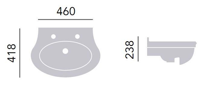 The Heritage Claverton medium semi-recessed basin will add a touch of class to traditional bathrooms. 1, 2 and 3 tap hole options are available online.