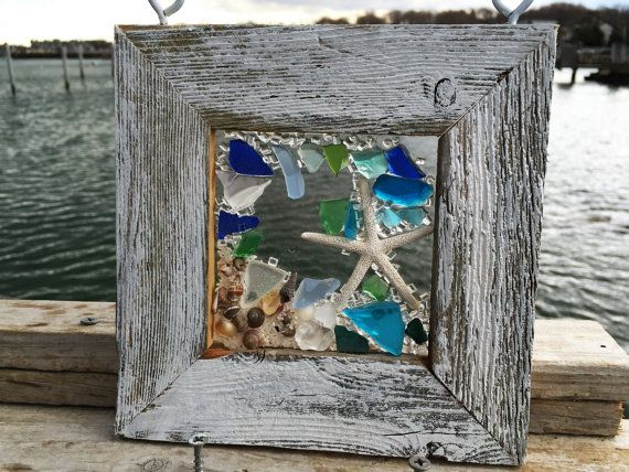 7X 7 New smaller size window with starfish accented with beach glass Great gift Please note beach glass tones may vary depending on availability Send me a note for colors