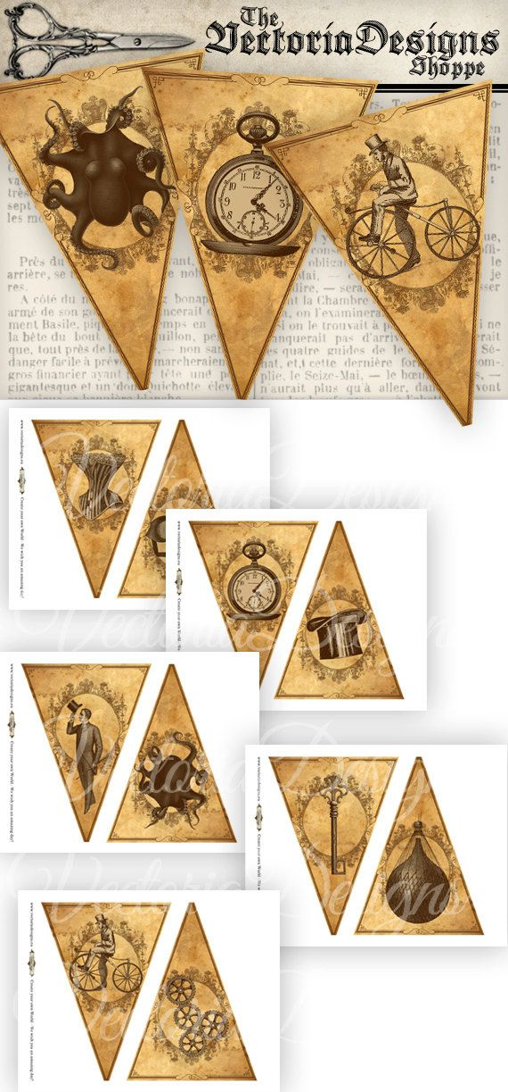 12 Steampunk Banner triangular images, each 7.5 x 5.5. Make your own Steampunk party banner, as long as you like. Print, cut out and connect all
