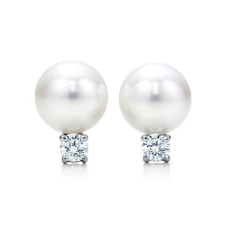 Ohrringe aus 18 kt. Weißgold mit Süßwasserzuchtperlen und Diamanten. | Tiffany & Co.