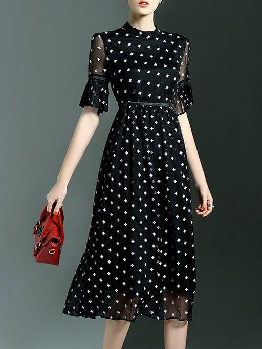 Black Printed Half Sleeve Midi Dress