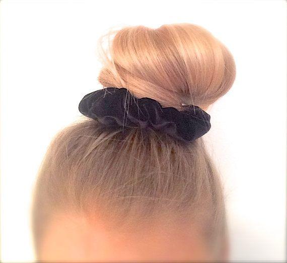 Black velvet scrunchie hair elastic by ChouchouScrunchie on Etsy