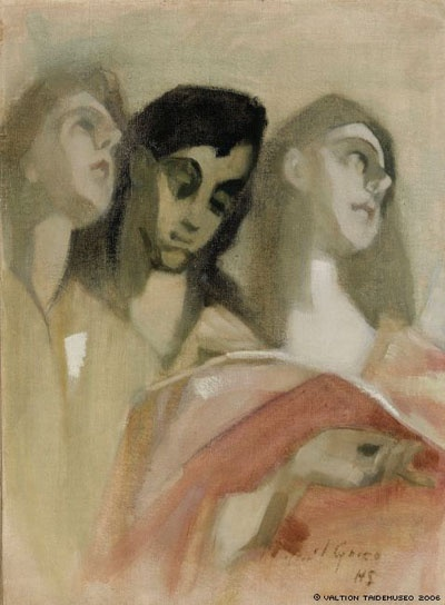 Fragment with Angels, after El Greco by Helene Schjerfbeck
