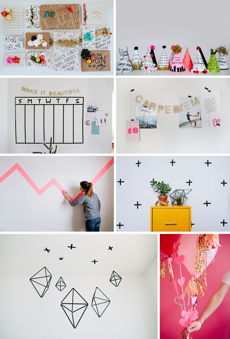 DIY Washi Tape Wallpaper You Need: Washi tape and Empty wall Clear out and wipe down the wall you'd like to use. I'd suggest testing a piece of tape on your wall prior to taping your entire wall. Sometimes certain colors don't stick to certain walls. You won't know until you try it. Decide what your pattern will be and cut most of your pieces. Start your pattern. And repeat.