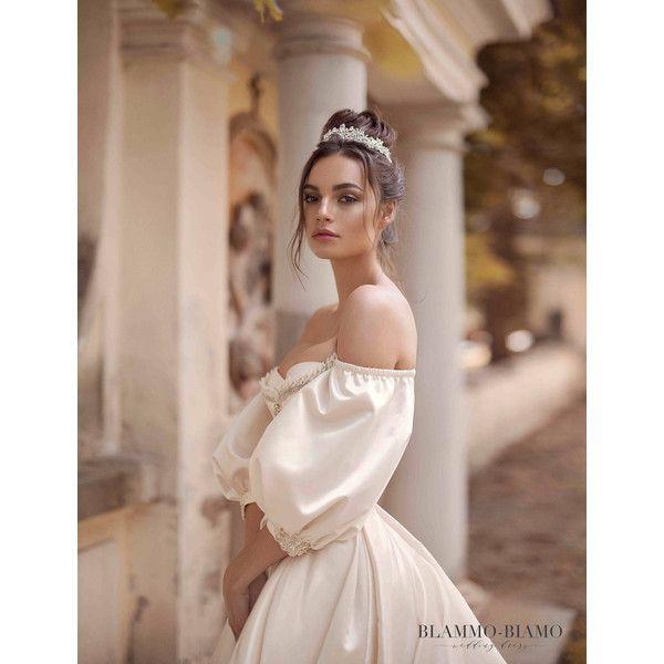 Unique wedding dress MEDEA, bohemian wedding dress, tulle wedding... ($2,399) ❤ liked on Polyvore featuring dresses, embelished dress, brides dresses, boho style dresses, embellished tulle dress and bridal dresses