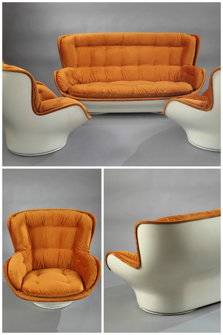 Mid Century Modern Karate Living Room Set Designed By Michel Cadestin B 1942 And Manufactured Armchair Slipcover Brown Leather Armchair Vintage Furniture