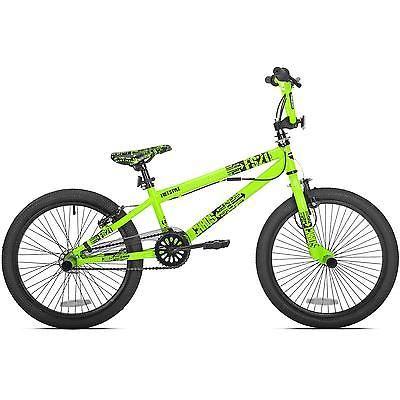 Boys Bmx Bike 20 Inch Neon Green Freestyle Handle Bar Mongoose Single Speed Kids