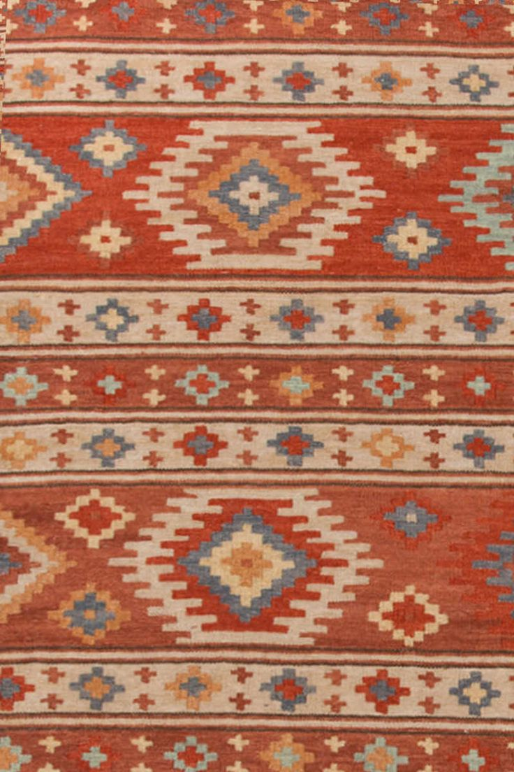 Rusty Red Southwest Pattern Area Rugs - Dash & Albert Canyon Kilim @ J Brulee Home. http://www.jbrulee.com/cat_rugs_carpets.cfm