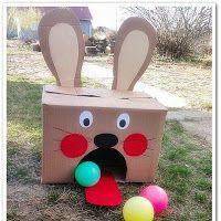Fiesta del reciclaje: juegos y Juguetes con material reciclado. Elaborar tragabolas con cajas de cartón
