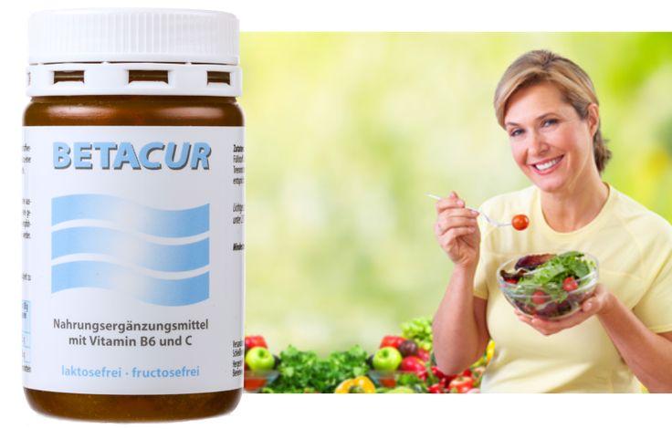 Betacur hilft, den Bedarf an Vitamin B6 und Vitamin C zu decken. Auch geeignet bei Nahrungsmittel-Unverträglichkeiten und gestresstem Darm.