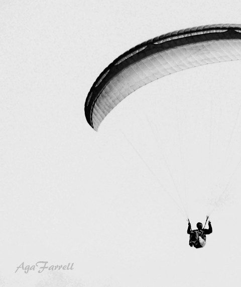 Paragliding Print Art Poster Travel Print Black and by AgaFarrell