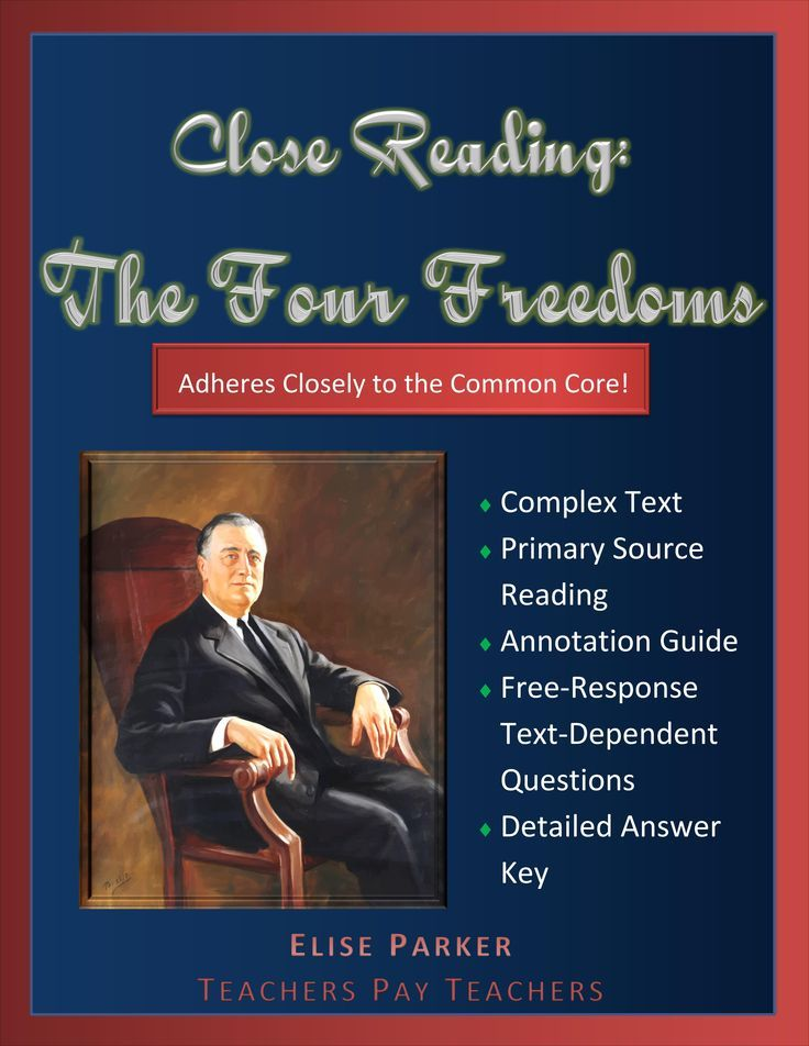 Common Core Compliant English and History activity -- a close reading of FDR's Four Freedoms speech. Text-dependent questions require students to dive deep into the text while a detailed answer key provides teachers with all the support they need to implement the close reading. This Four Freedoms Close Reading includes high-school appropriate annotation guide for students to use.